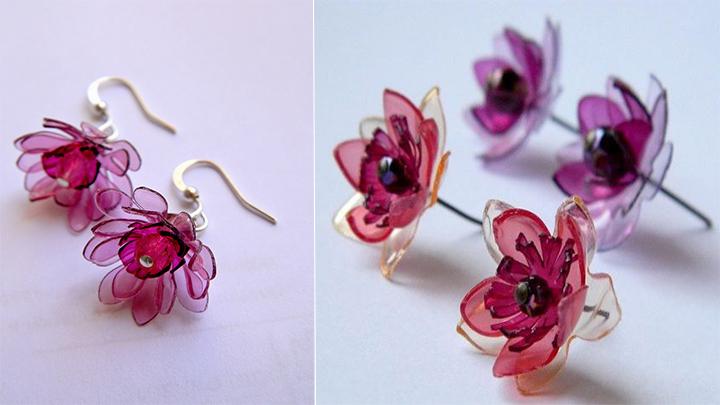 DIY ต่างหูดอกไม้รีไซเคิล