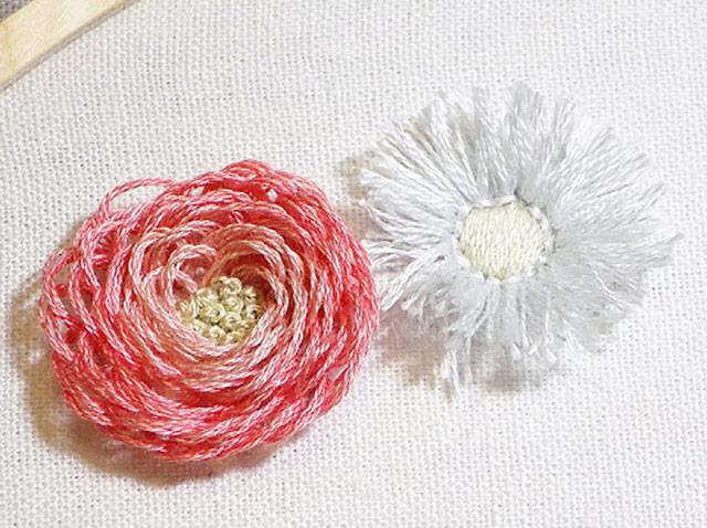 DIY  ปักกลีบดอกไม้ให้เป็นเส้นพู่ พองฟูเก๋ๆ