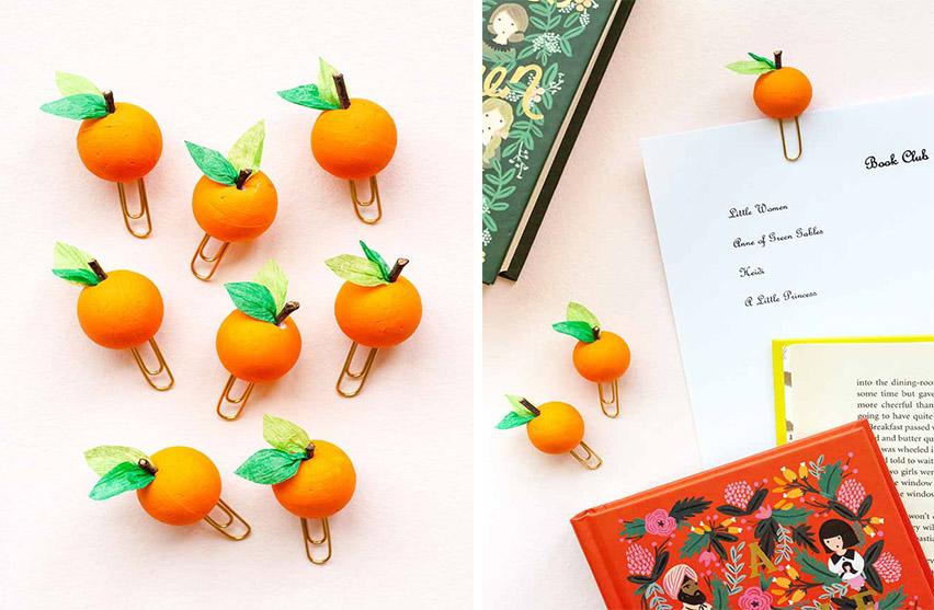 DIY เพิ่มความโดดเด่นให้ลวดหนีบกระดาษ ด้วยผลส้มจี๊ด