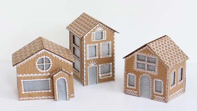 DIY สร้างบ้านขนมปังขิงจากกระดาษลังกัน