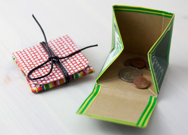 DIY พับกล่องนมให้กลายเป็นกระเป๋าใส่เหรียญ