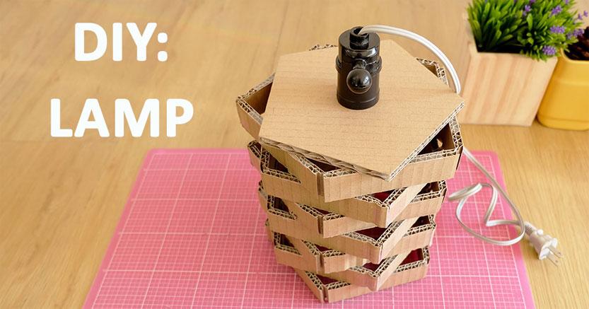 DIY :: โคมไฟจากลังกระดาษ